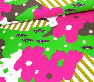 Stoff - Kokka - Echino - Füchse - Pink/Grün