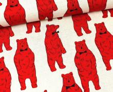 Canvas - Bären mit Fliege - KOKKA - Natur/Rot