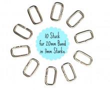 10 Vierkant-Ringe 20mm - Ring - Taschenring