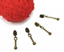 1m Endlosreißverschluss Spitze+4 Zipper - Rot (Mengeneinheit: 1m).
