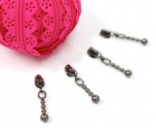 1m Endlosreißverschluss Spitze+4 Zipper - Pink (Mengeneinheit: 1m).