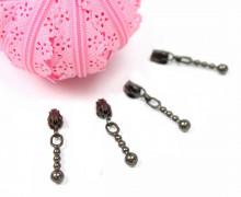 1m Endlosreißverschluss Spitze+4 Zipper - Rosa
