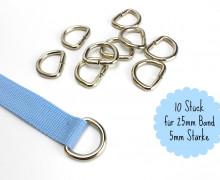 10 D-Ringe - 25mm - Taschenring - Silber