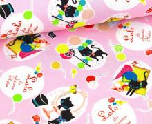 2. Wahl Feste Baumwolle - Schwarze Katze - KOKKA - Rosa