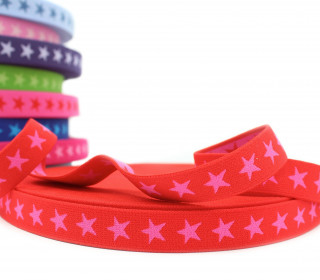 1 Meter Gummiband - Sterne - 20mm - Rot/Pink