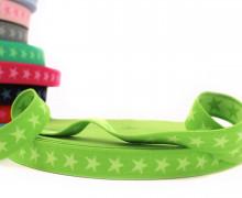 1 Meter Gummiband – Sterne – 20mm – Moosgrün/Hellgrün