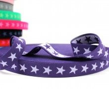 1 Meter Gummiband - Sterne - 20mm - Violett/Flieder