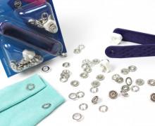 10 Nähfrei Druckknöpfe - Jersey -Silber/Ring- 10mm