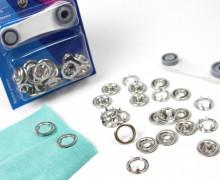 6 Nähfrei Druckknöpfe - Jersey -Silber/Ring - 18mm
