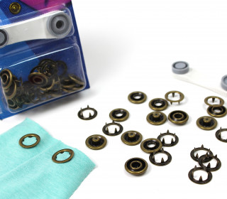 6 Nähfrei Druckknöpfe - Jersey -Bronze/Ring - 18mm