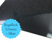A4 Flitter Bügelflock - Bügelfolie -Schwarz/Silber (Mengeneinheit: 1piece)