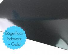 A4 Flitter Bügelflock - Bügelfolie -Schwarz/Gold (Mengeneinheit: 1piece)
