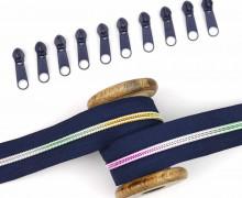 2m Endlos Reißverschluss *B*+10 Zipper - Dunkelblau/Regenbogen Farbverlauf (330)