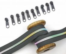 2m Endlos Reißverschluss *B*+10 Zipper - Dunkelgrau/Regenbogen Farbverlauf (312)