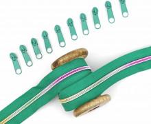 2m Endlos Reißverschluss *B*+10 Zipper - Grün/Regenbogen Farbverlauf (242)