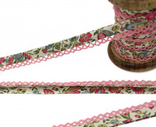 1m Schrägband - Häkelborte - Blumen - Mint/Pink (Mengeneinheit: 1m)