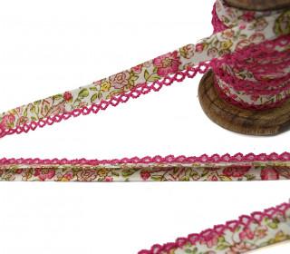 1m Schrägband - Häkelborte - Blumen - Weiß/Pink (Mengeneinheit: 1m)