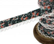 1m Schrägband - Häkelborte - Blumen-Türkis/Apricot