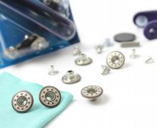 6 Nähfreie Knöpfe - Jeans - Sternchen -17mm-Silber