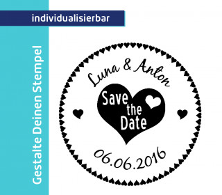 Gestalte Deinen Stempel - Heart - Save the Date