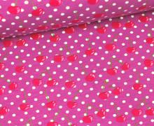 Jersey - Bio Qualität - Cherry Dots - Violett (Mengeneinheit: 0,5m)