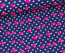Jersey - GOTS - Cherry Dots - Dunkelblau