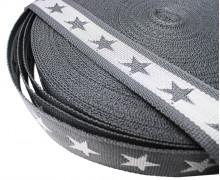 1 Meter Gurtband – Sterne – 40mm – Dkl.Grau