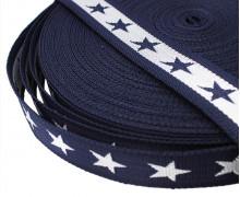 1 Meter Gurtband - Sterne - 40mm - Dkl.Blau