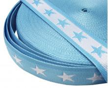 1 Meter Gurtband - Sterne - 40mm - Hellblau