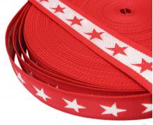 1 Meter Gurtband - Sterne - 40mm - Rot