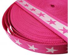 1 Meter Gurtband - Sterne - 40mm - Pink