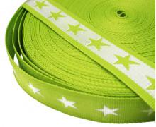 1 Meter Gurtband - Sterne - 40mm - Hellgrün
