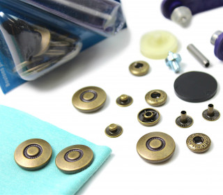 6 Nähfrei Druckknöpfe-Anorak-Muster-Bronze-20mm
