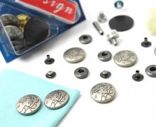 6 Nähfrei Druckknöpfe-Anorak-Landkarte-Silber-20mm