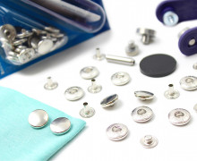 10 Nähfrei Druckknöpfe - Anorak - Silber - 12mm