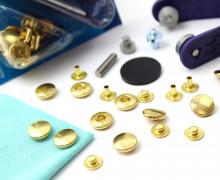 10 Nähfrei Druckknöpfe - Anorak - Gold - 12mm