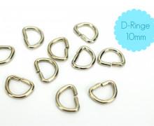 10 D-Ringe 10mm - Taschenringe - Silber