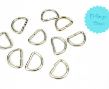 10 D-Ringe 15mm - Taschenringe - Silber