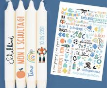 DIN A4 - Tattoofolie - Einschulung - Blau - für Kerzen / Keramik