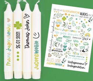 DIN A4 - Tattoofolie - Jugendweihe - für Kerzen / Keramik