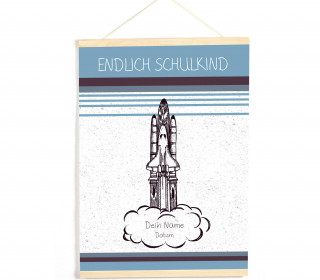 DIY-Stoffposter - Schulkind - Space