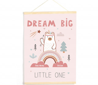 DIY-Stoffposter - Baby - Dream Big Little One - Rosa