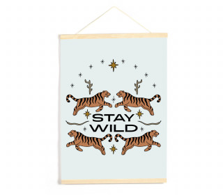 DIY-Stoffposter - Lettering - Stay Wild - Tiger - Hellblau