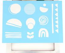 Schablone - Abstrakte Formen - A4 - selbstklebend & wiederverwendbar - für Siebdruck