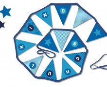 DIY-NÄHSET Wimpelkette - Stern Blau