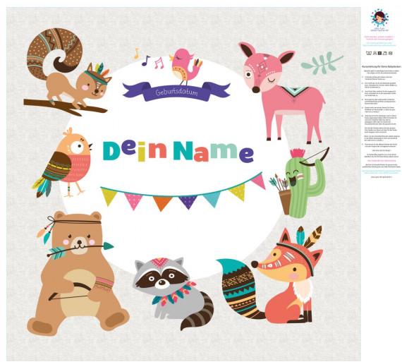 diy n hset babydecke top babydecke personalisiertes krabbeldecken top wild animals zum. Black Bedroom Furniture Sets. Home Design Ideas
