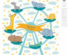 DIY-Nähset Babydecke - Top Babydecke - personalisiertes Krabbeldecken Top - Tierkarussel - zum selber Nähen