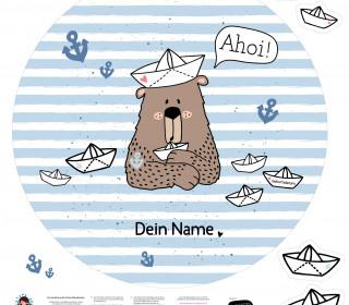 DIY-Nähset Babydecke - Rund - Top Babydecke - personalisiertes Krabbeldecken Top - Kleiner Seebär - zum selber Nähen