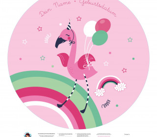DIY-Nähset Babydecke - Rund - Flamingo - Top Babydecke - pers. Krabbeldecken Top - NIKIKO - zum selber Nähen