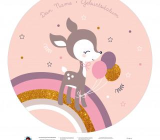 DIY-Nähset Babydecke - Rund - Reh - Top Babydecke - pers. Krabbeldecken Top - NIKIKO - zum selber Nähen